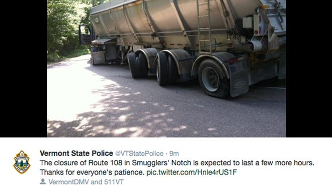 A tweet Wednesday from @VTStatePolice warns motorists to avoid Vermont 108, the Smugglers Notch road, after a tractor trailer tried to go through and got stuck.