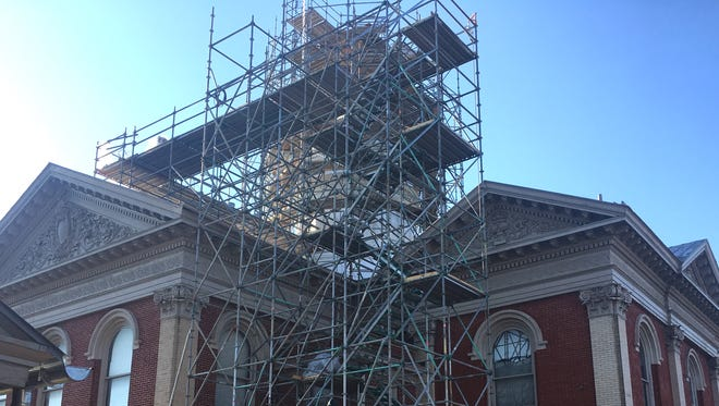 Scaffolding is shown rising above the Augusta County Circuit Courthouse on Friday, May 11, 2018.