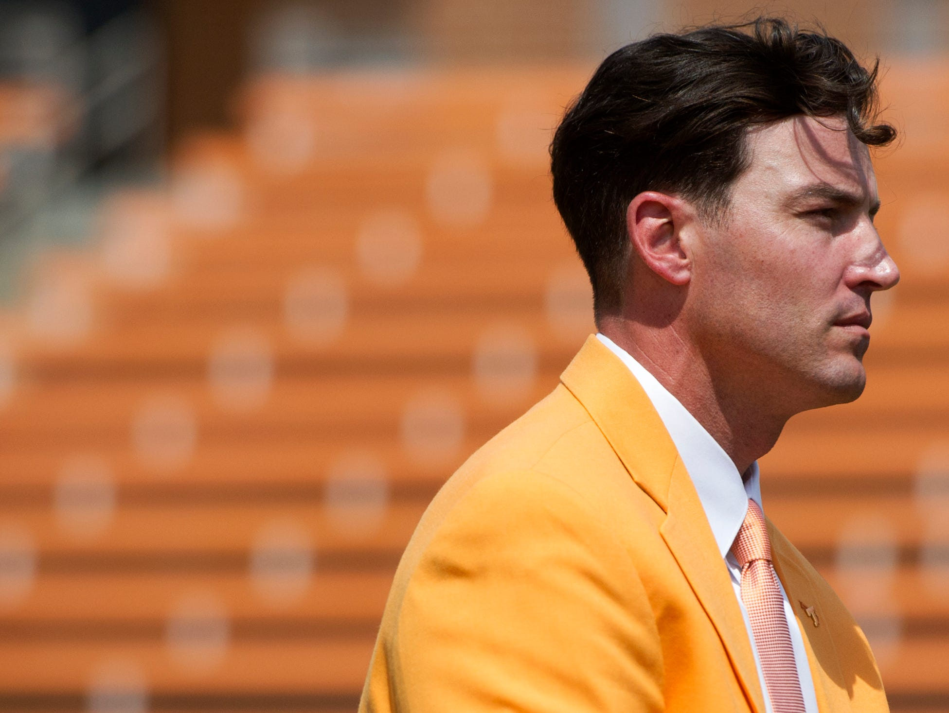 New University of Tennessee Baseball Head Coach Tony Vitello sits with his new orange blazer at a press conference introducing him to the media, at Lindsey Nelson Stadium on Friday June 9, 2017.