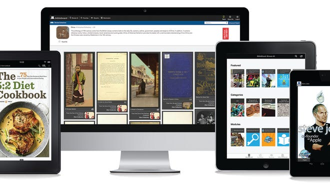 """Screenshots of library e-lending sites designed by Charleston, S.C., startup BiblioLabs. The company is pushing to make borrowing library materials as easy as an Amazon """"1-Click"""" purchase by simplifying online lending and helping make libraries' entire collections — e-books, documents, images, video or audio — available instantly."""