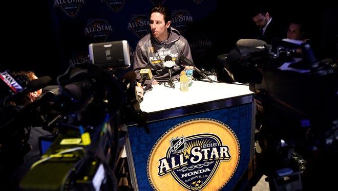 Predators forward James Neal speaks during the NHL All-Star Game media day at Bridgestone Arena on Friday.