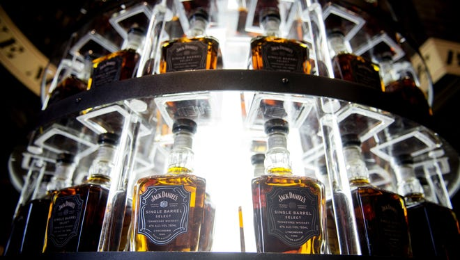 Bottles of Jack Daniel's Single Barrel Select were on display Feb. 26, 2016, at the Jack Daniel's Distillery in Lynchburg, Tenn.