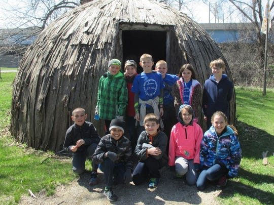 Fourth-grade students at St. Mary Elementary went on a field trip to Heritage Hill in Green Bay in April. Pictured are (first row, from left) Ashton Post, Ethan Tines, Alex Walsh, Lucy Engle, Kassadi Calmes; (second row) Hayden Quimby, Charlie Goss, Braeden Brenn, Will Lawniczak, Evie Warren and Nicolas Debraal.