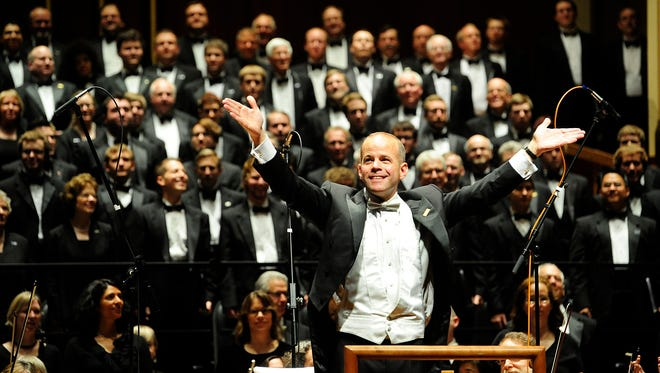 Eric Stark conducts the Indianapolis Symphonic Choir with the Indianapolis Symphony Orchestra. Saturday, May 5, 2012. (Photo/Tom Russo)