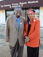 National Voting Rights Museum creators Hank Sanders and his wife, Faya Rose Toure, stand outside the building that is celebrating its silver anniversary in Selma.