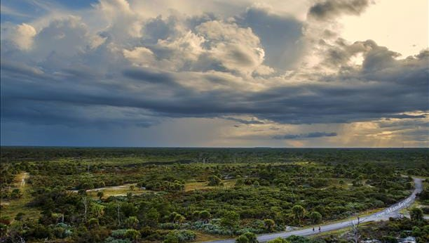 Late day joggers brave incoming storms at Jonathan Dickinson State Park on Saturday. Reader-submitted photo
