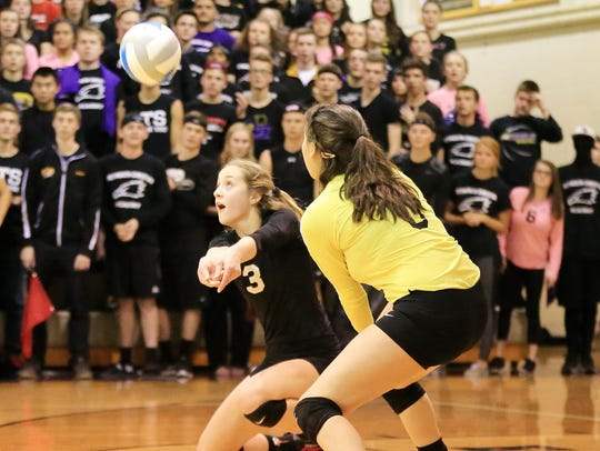 Bumping the ball for the Eagles Thursday is Grace Kellogg