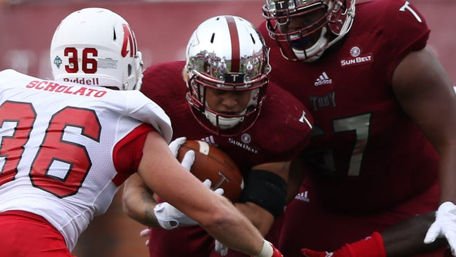 Troy Trojans wide receiver Hiram Velez (7) runs the ball against Austin Peay in Troy, Ala. on Saturday, September 3, 2016.