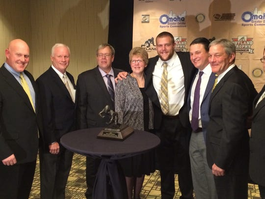 From 2015: From left, Iowa Hawkeyes strength coach Chris Doyle, assistant coach Reese  Morgan, Bob Scherff (father), Cindy Scherff (mother), Outland Trophy winner Brandon Scherff, assistant coach Brian Ferentz and head coach Kirk Ferentz.