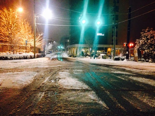 Haywood Street in downtown Asheville around 5 a.m.