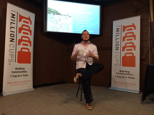 Ben McDougal, CEO of Jet Set Studio, talks about his company and the 2015 UGC Niagara eSports event during a 1 Million Cups gathering April 22.
