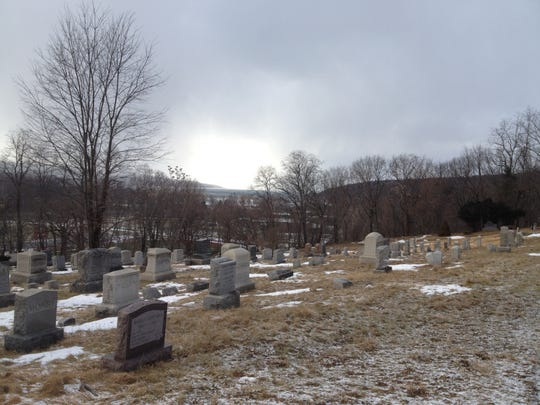 A winter scene at Lake View Cemetery in Ithaca.