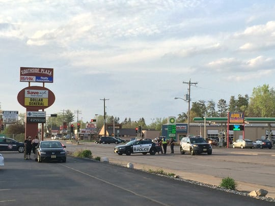 Police blocked all four lanes of Church Street for a fire Thursday at Dollar General in Stevens Point.