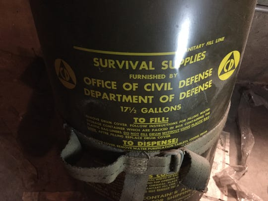 A Civil Defense barrel in the Cold War-era fallout shelter of the Downtown Reno branch of Washoe County Library.