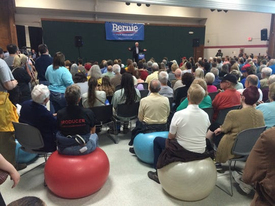 In order to comfortably listen to presidential hopeful Sen. Bernie Sanders, I-Vt., some in the crowd of over 300 people resorted to sitting on exercise balls from the Robert A. Lee Recreation Center Saturday morning in Iowa City.