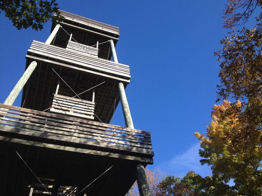 The observation tower at Sheboygan Marsh offers a spectacular view of the wetlands and surrounding forests.
