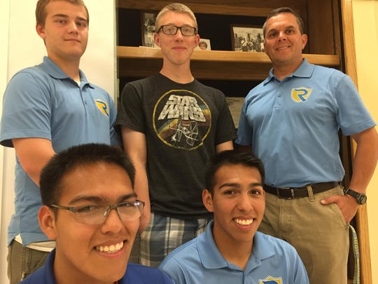 The JNROTC team that created the Edward C. Reed Jr. exhibit at Reed High School in Sparks: bottom from left, Daniel Maldonado and Kristian Maldonado; top from left, Brandon Bonnell, Josh Haefeli, and Stephen Tynan. Not pictured: Jessie Liao.
