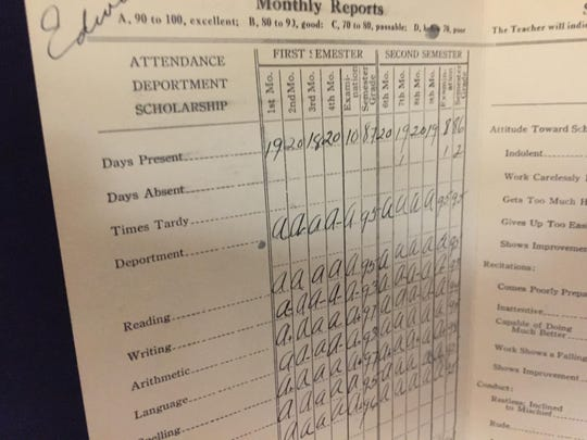 Judge Edward C. Reed's fifth grade report card, part of a new exhibit about his life at Reed High School in Sparks.