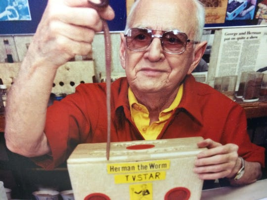 "George Sroda, the 'International Worm Czar' of Amherst Junction was honored by Gov. Tommy Thompson in 1998 for touching lives, bringing smiles to many and making a ""difference in the heart of Wisconsin."""