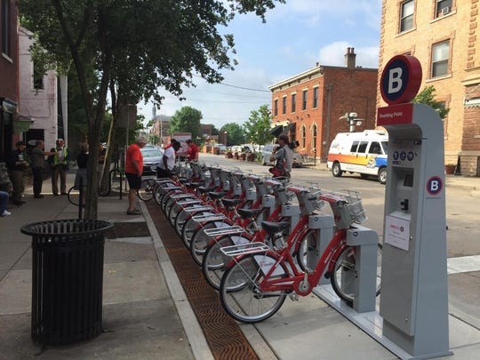 The Red Bike station in Covington's Roebling Point is one of six new stations that opened Tuesday in Covington.