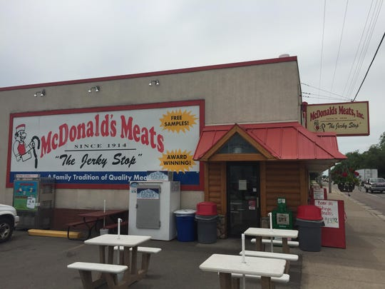 The exterior of McDonald's Meats, a popular butcher shop.
