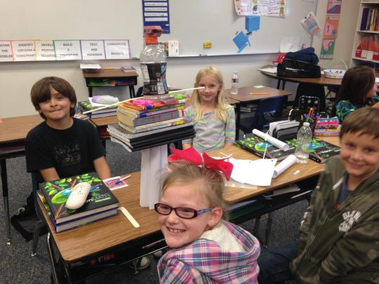 Dayton Elementary School students Dakota Shelley, Connor Larkin, Brooklyn Rice and Miguel Vega work on a STEM project. STEM learning will play a vital role in Nevada's education system and economic diversification, argues Pat Hickey.