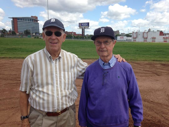 Before a game at Comerica Park on June 28, Elliott Trumbull, left, and Mickey Briggs visited the diamond where Briggs Stadium once stood.