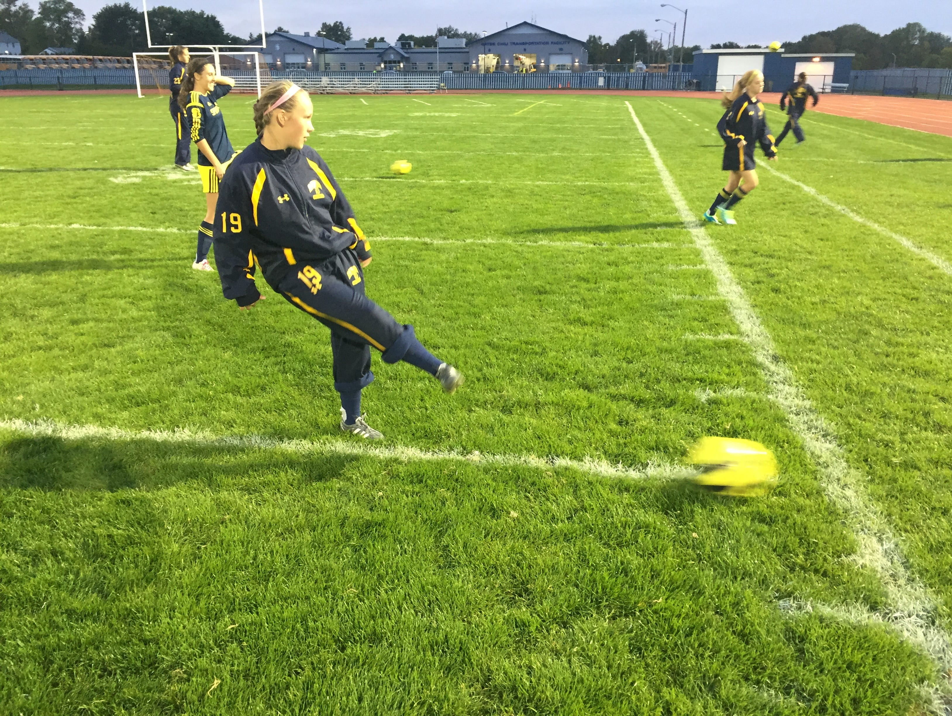 Spencerport sophomore Luca Fahmer, shown here before a game at Gates Chili, leads the Rangers with seven assists.