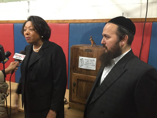 Interim East Ramapo Schools Superintendent Dr. Deborah Wortham talks  about the job Wednesday as board President Yehuda Weissmandl listens.