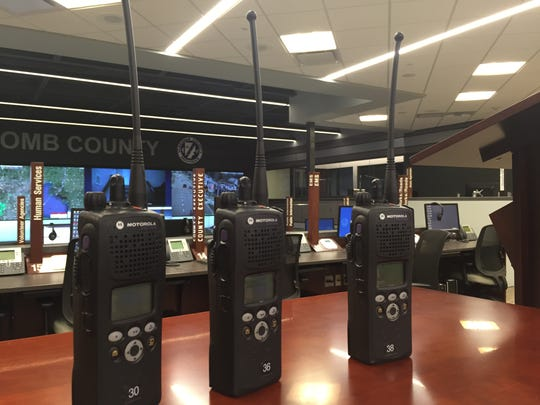 Radios at the Macomb County communications center in Mt. Clemens.
