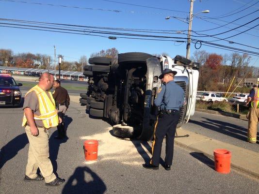 Tractor-trailer overturned