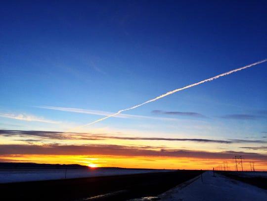 The sun sets near Frazer on Montana's Hi-Line.