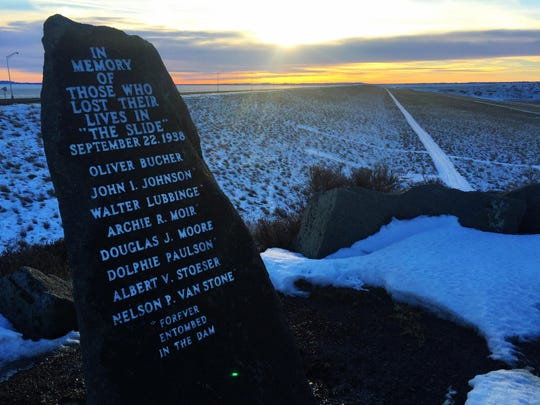 A memorial overlooks Fort Peck Dam.