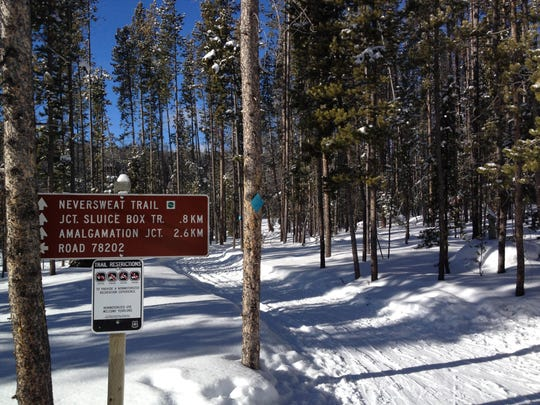 Trail names at Moulton Reservoir reflect Butte's mining industry.