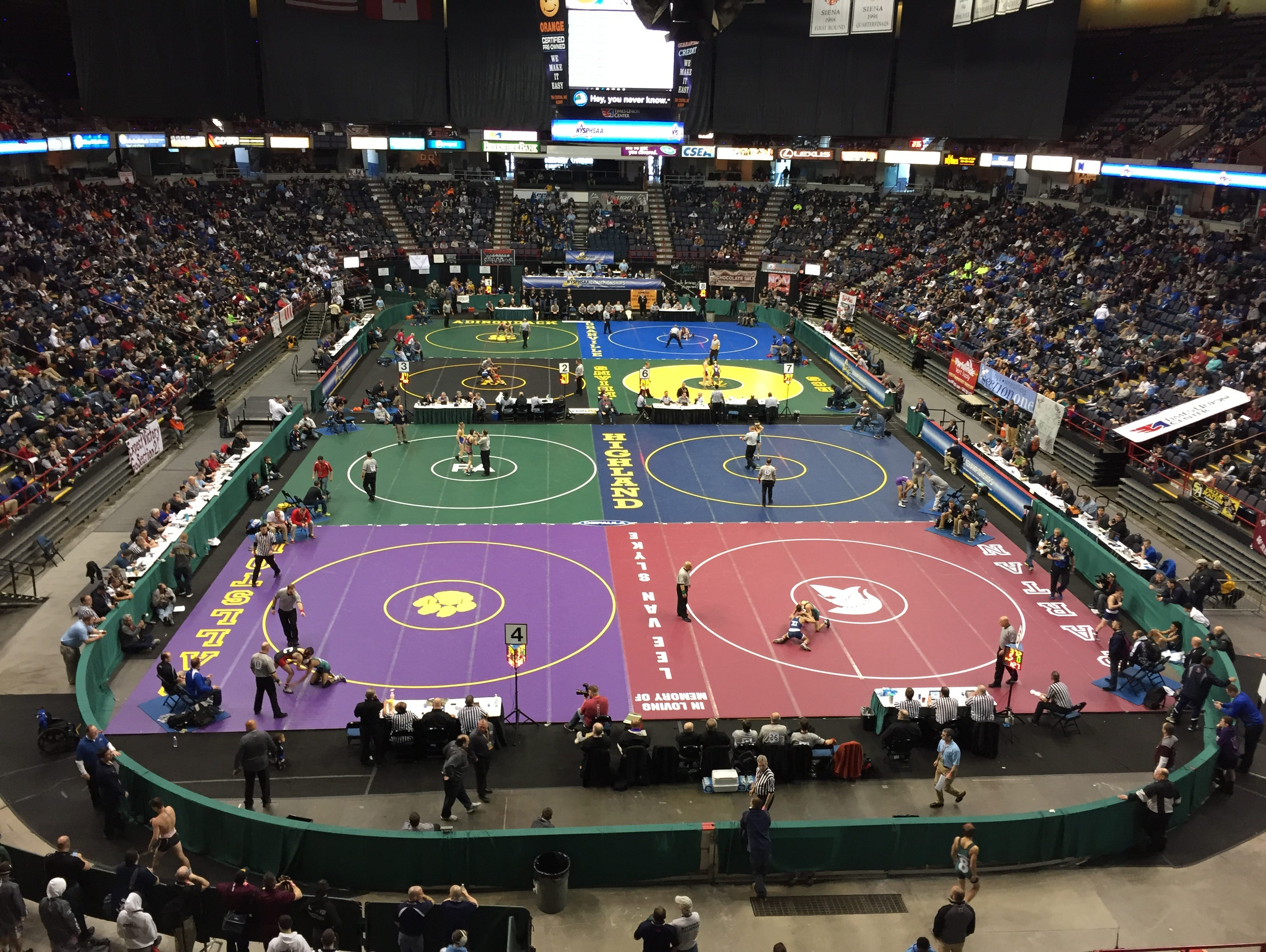 NYSPHSAA wrestling championships at the Times Union Center in Albany on Feb. 26, 2016.