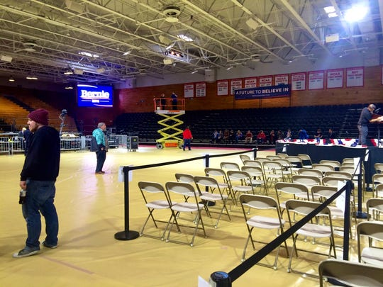 Preparations for the 7 p.m. rally are underway. There's about a dozen or so people from the Sanders campaign putting up signs and posters around the gym.