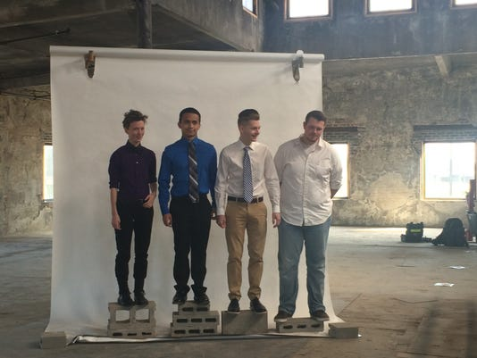 Dowling High School's Liam Jameson and other scholars at a  Des Moines photo shoot  for Matrtrhew Shepard scholars