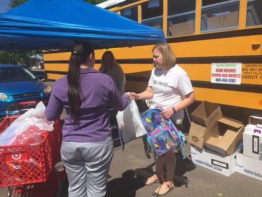 Kim Skornogoski accepts donations outside the Target