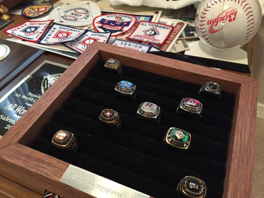 Jerry Bergquist of Salem is one of the best senior slow-pitch softball players in the Northwest and continues to add to his collection of hardware, which includes four world championship rings and three national championship rings.