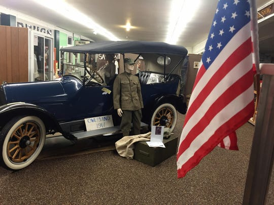 A 1917 Overland anchors the Conrad Transportation and Historical Museum display on World War I.