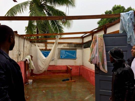 Property is damaged in Leogane, Haiti, on Oct. 4, 2016.