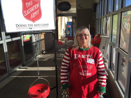 Paula DeLorme was one of many bell-ringers helping with the Salvation Army's Red Kettle Campaign in Great Falls this Christmas season.