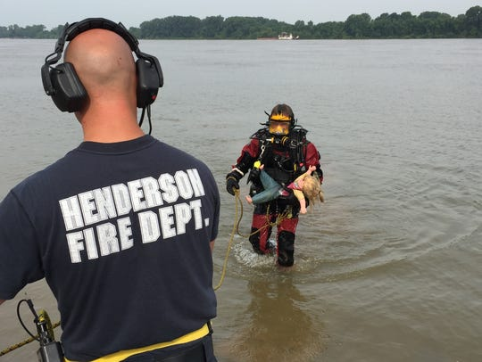 Members of the Henderson Fire Department dive team