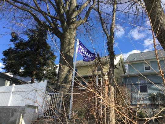 A Trump flag flying outside a home in North Arlington on Monday.