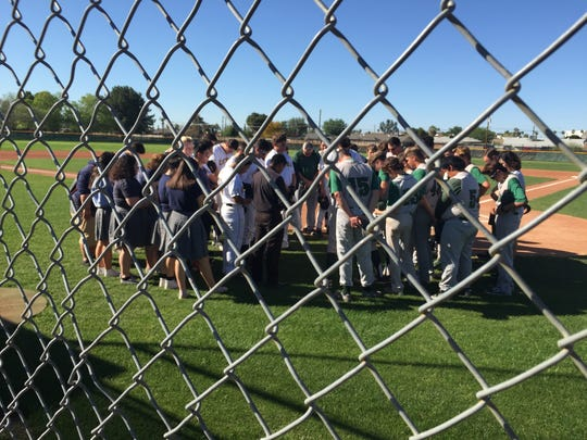 Bourgade and Phoenix Christian baseball players meet