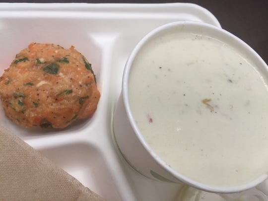 Clam chowder and a salmon patty from The Turnip Truck's food bar, Tuesday, March 14, 2017.