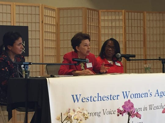 Sheila Klatzky, center, addresses the audience at the Westchester Women's Agenda's release of its 2016 report on the status of women in Westchester.