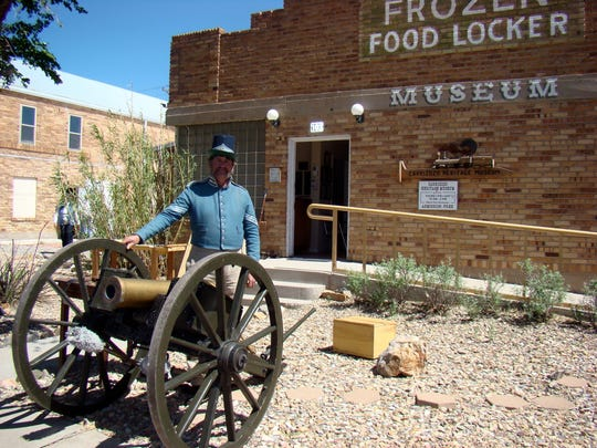 """Larry Pope, Fort Stanton Historical Site was on hand April 22 to help the """"Carrizozo Celebrates Your History"""" event. The museum, Carrizozo Woman's Club, galleries and businesses hosted guest speakers and authors to help Carrizozo Community Public Library and Archive and Lincoln County Historical Society  put on the celebration."""