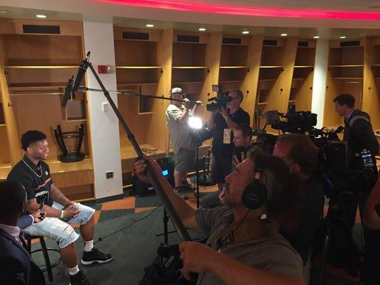 New Cincinnati Bengals running back Joe Mixon meets