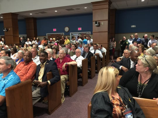 A crowd gathers on Monday, May 22, 2017, at the Ernie Lee Magaha Government Building in Pensacola for an Escambia County Board of County Commissioners meeting about the closure of Rawson Lane.